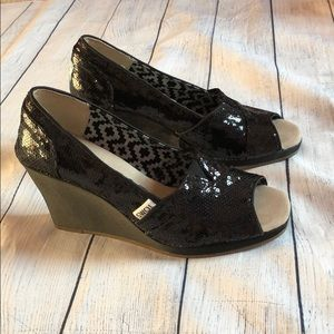 Toms Black Sparkle Sequin Peep Toe Wedges